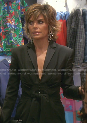 Lisa's black tie front blazer on The Real Housewives of Beverly Hills