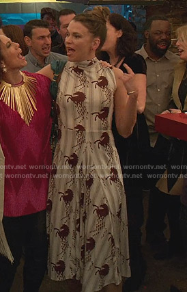 Liza's white horse print dress on Younger