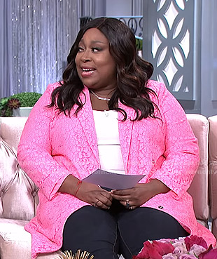 Loni's pink lace jacket on The Real