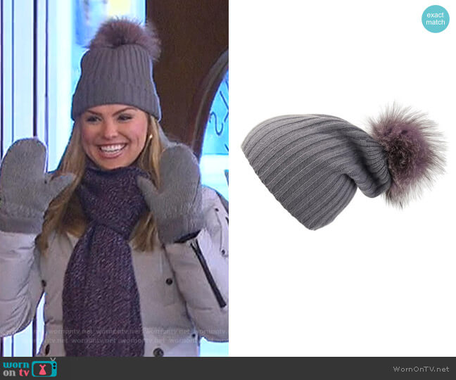Ribbed Hat with Lilac Pom-Pom by Loveknitz worn by Hannah Brown  on The Bachelorette