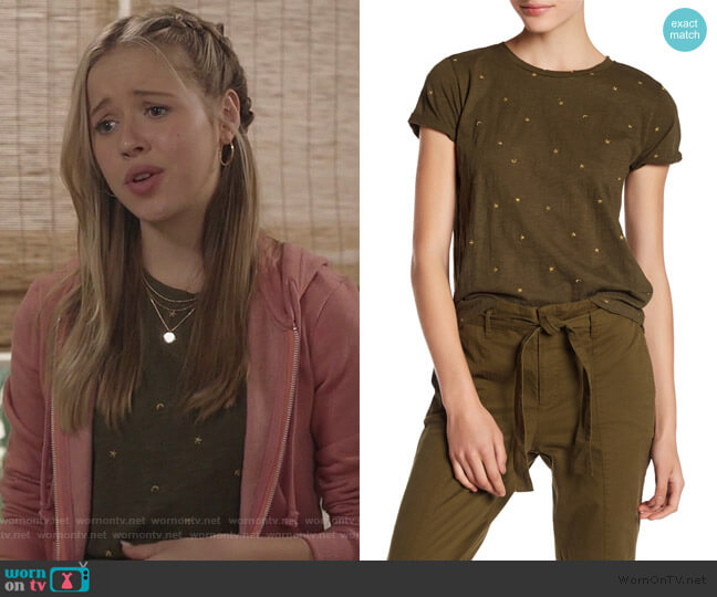 Stars & Moon Tee by Lucky Brand worn by Samantha Hughes (Holly Barrett) on Life in Pieces