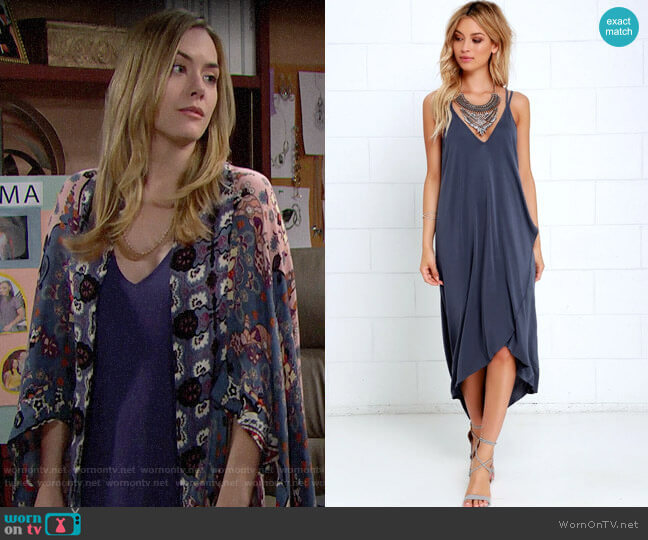Lush Mood and Melody Washed Blue High Low Dress worn by Hope Logan (Annika Noelle) on The Bold & the Beautiful