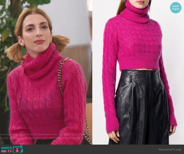 Turtleneck Cable Knit Sweater by Matthew Adams Dolan worn by Lauren (Molly Bernard) on Younger