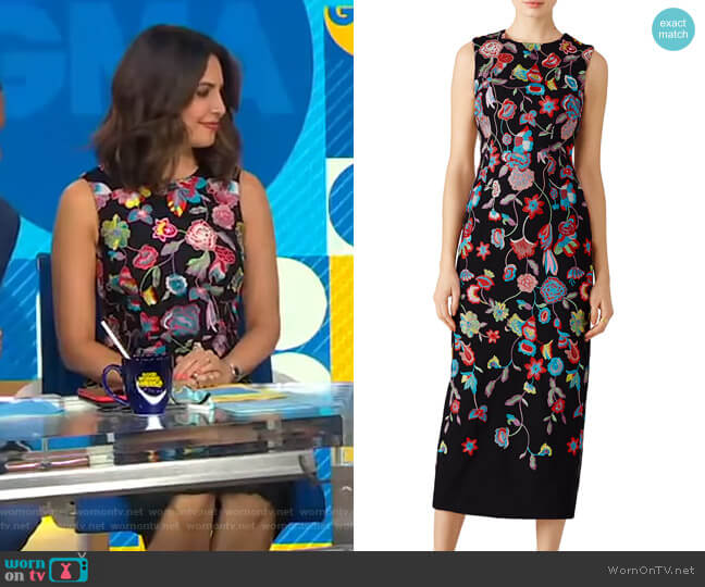 Multi Floral Embroidered Dress by ML Monique Lhuillier worn by Cecilia Vega  on Good Morning America