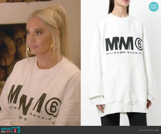 Logo Printed Sweatshirt by MM6 Maison Margiela worn by Erika Girardi  on The Real Housewives of Beverly Hills