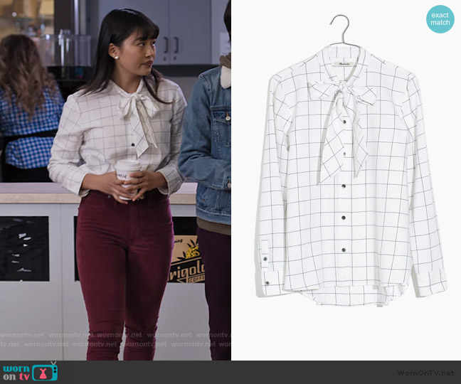 Flannel Tie-Neck Shirt in Windowpane by Madewell worn by Rachelle Cohen-Strauss (Haley Tju) on Trinkets