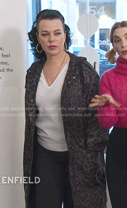 Maggie's grey leopard print coat on Younger