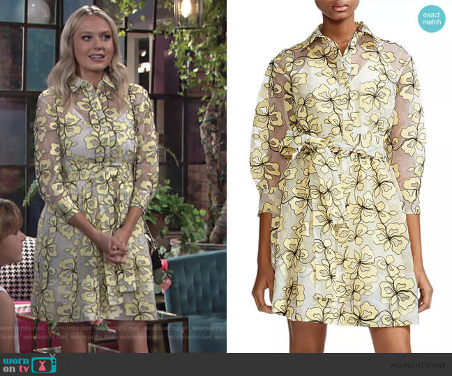 Reality Floral-Embroidered Organza Shirt Dress by Maje worn by Abby Newman (Melissa Ordway) on The Young & the Restless