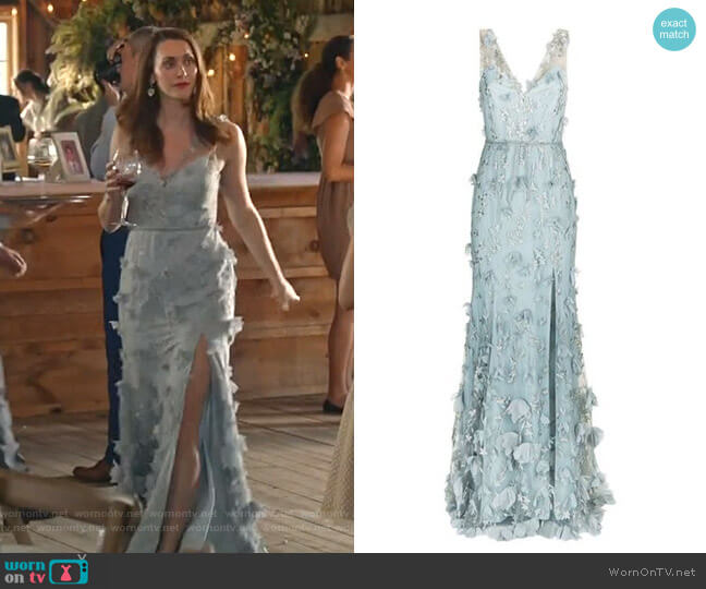 Floral Embroidered Plunging Gown by Marchesa Notte worn by Abigail Pershing (Sarah Power) on Good Witch