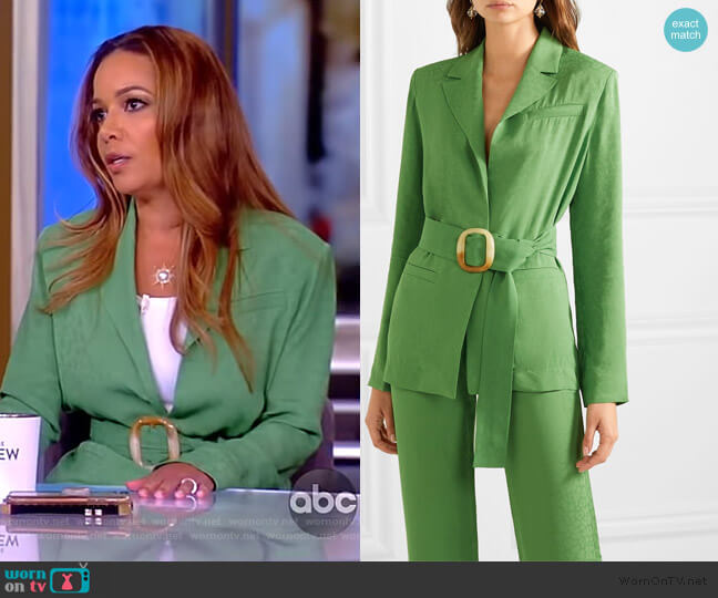 Belted jacquard blazer by Materiel worn by Sunny Hostin  on The View