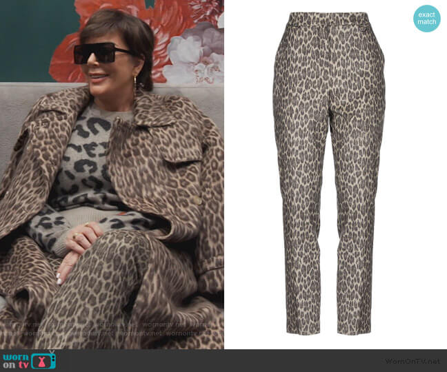 Leopard Pants by Max Mara worn by Kris Jenner  on Keeping Up with the Kardashians