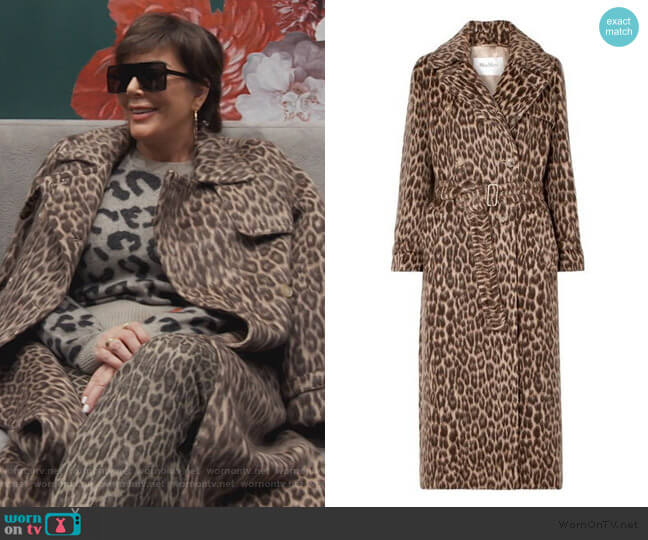 Fiacre Leopard print Coat by Max Mara worn by Kris Jenner  on Keeping Up with the Kardashians
