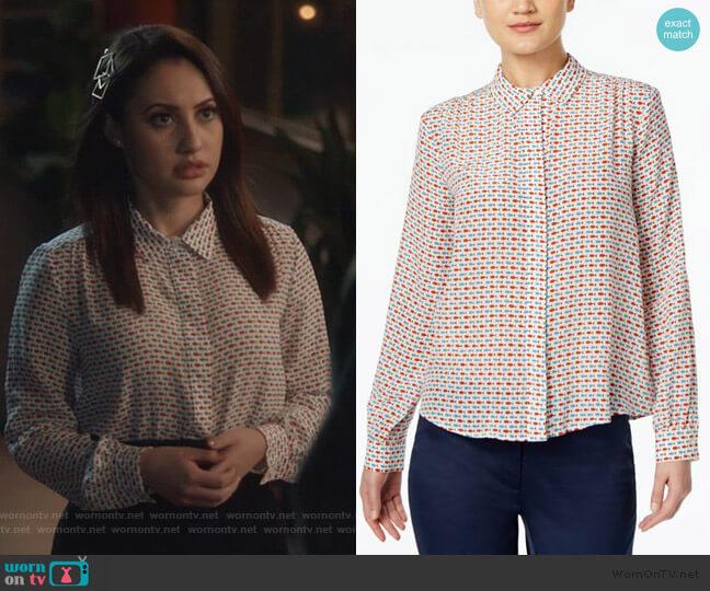 Silk Fish-Print Shirt by Weekend Max Mara worn by Ana Torres (Francia Raisa) on Grown-ish