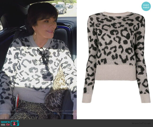 Leopard Print Sweater by Max Mara worn by Kris Jenner  on Keeping Up with the Kardashians