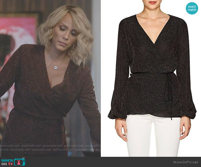 Metallic Jersey Wrap Top by Juan Carlos Obando worn by Giselle (Nicole Ari Parker) on Empire