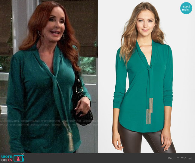 Michael Kors Chain Fringe Tie Neck Top worn by Bobbie Spencer (Jackie Zeman) on General Hospital