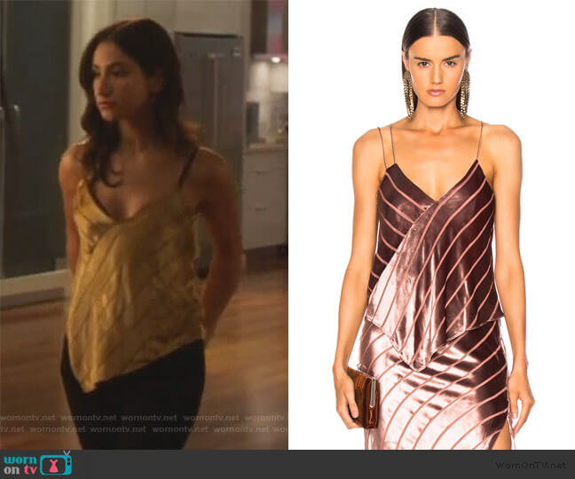 Asymmetric Cami by Michelle Mason worn by Adena El-Amin (Nikohl Boosheri) on The Bold Type