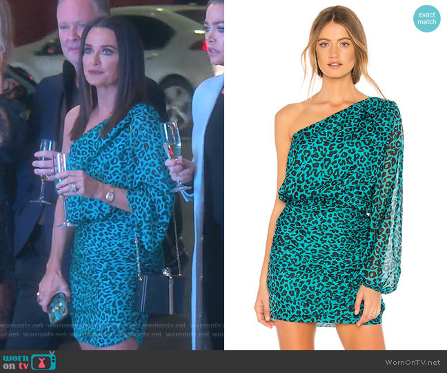 One Sleeve Mini Dress by Michelle Mason worn by Kyle Richards  on The Real Housewives of Beverly Hills