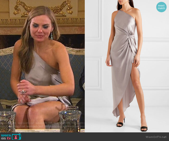 One-shoulder Twisted Asymmetric Gown by Michelle Mason worn by Hannah Brown  on The Bachelorette