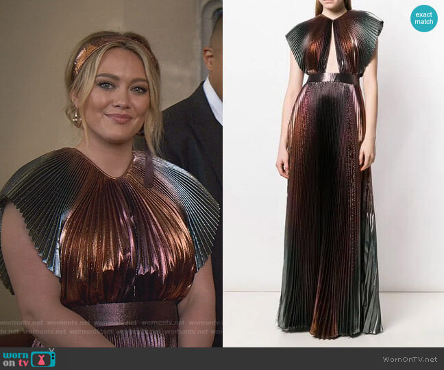 Micro Pleated Maxi Dress by Givenchy worn by Kelsey Peters (Hilary Duff) on Younger