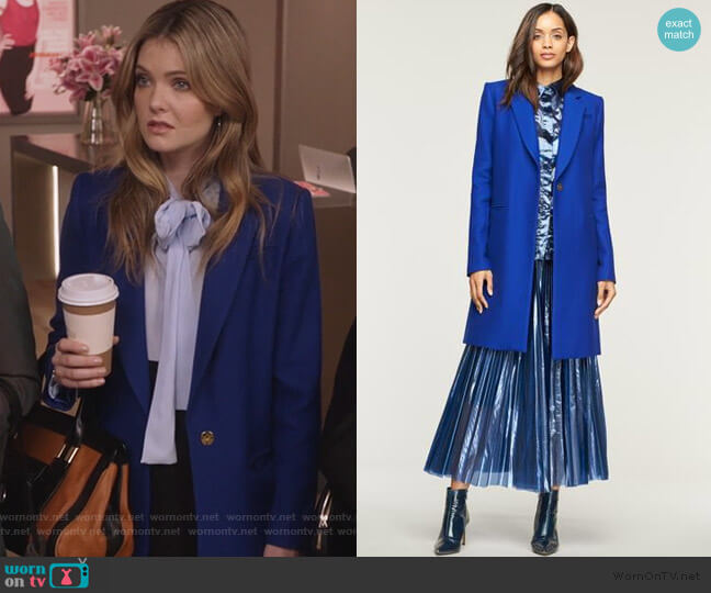 Twill Coating Eva Slim Coat by Milly worn by Sutton (Meghann Fahy) on The Bold Type