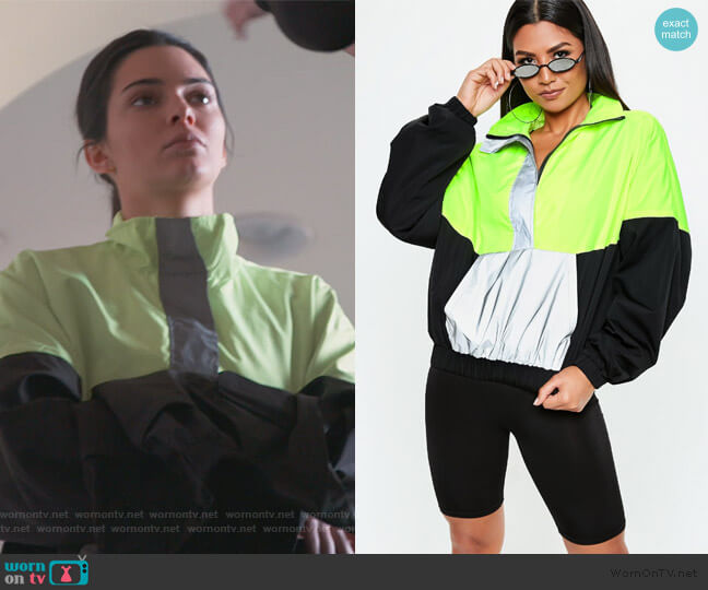 Neon Windbreaker Jacket by Missguided worn by Kendall Jenner  on Keeping Up with the Kardashians