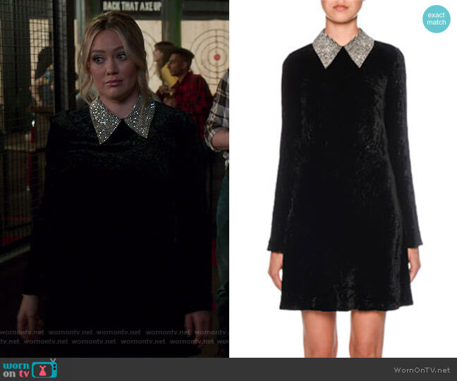 Embellished Velvet Minidress by Miu Miu worn by Kelsey Peters (Hilary Duff) on Younger