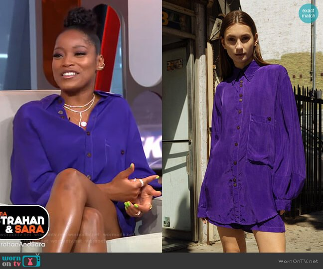 Morel Shirt in Grape by KkCo worn by Keke Palmer  on Good Morning America
