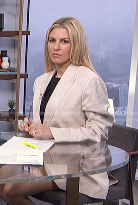 Morgan's beige oversized blazer on E! News Daily Pop