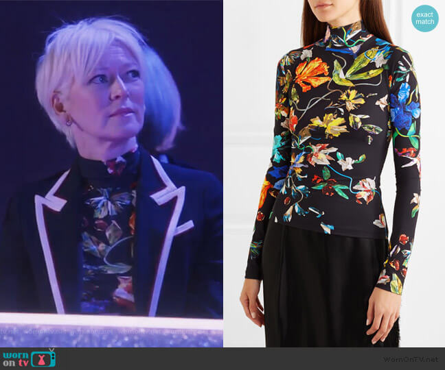 Floral-print stretch-jersey turtleneck top by Mugler worn by Joanna Coles on The Bold Type
