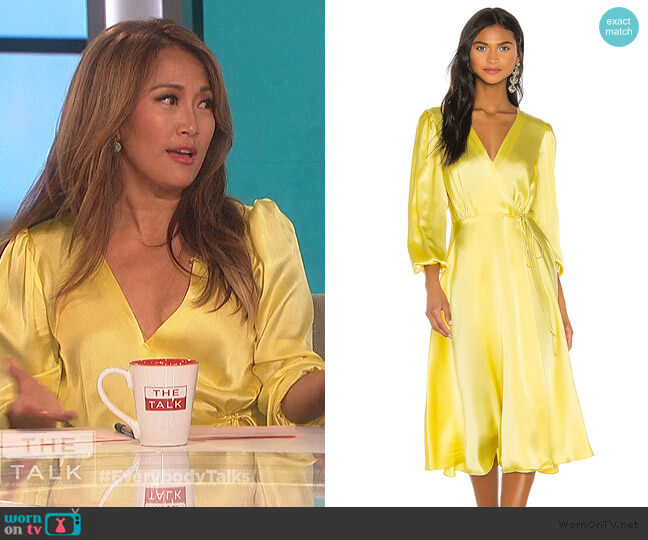 Wrap Silk Midi Dress by NONchalant worn by Carrie Inaba  on The Talk