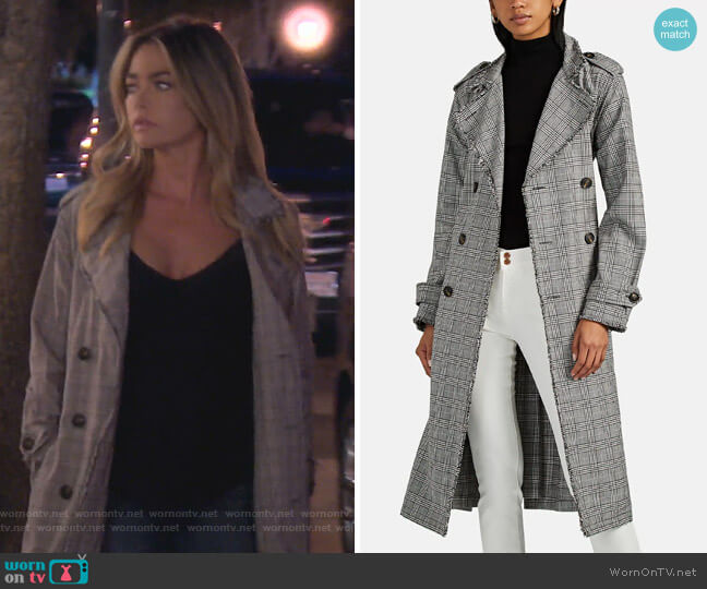 Dorian Plaid Cotton Trench Coat by NSF worn by Denise Richards  on The Real Housewives of Beverly Hills