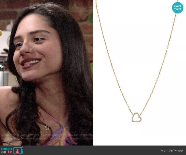 Nadri Cubic Zirconia Heart Pendant Necklace worn by Lola Rosales (Sasha Calle) on The Young & the Restless