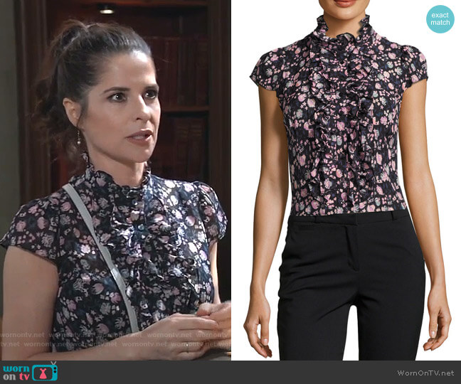 Cap-Sleeve Floral Silk Ruffle-Trim Blouse by Nanette Lepore worn by Sam McCall (Kelly Monaco) on General Hospital