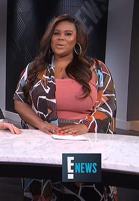 Nina's printed kimono and pants on E! News Nightly Pop