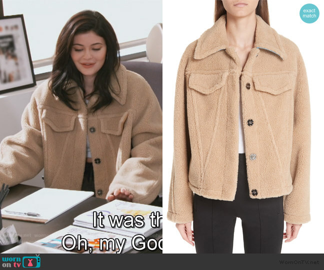 Bear Faux Shearling Track Jacket by Off-White worn by Kylie Jenner  on Keeping Up with the Kardashians