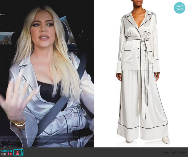 Piped Pajama Shirt w/ Self-Belt by Off-White worn by Khloe Kardashian  on Keeping Up with the Kardashians