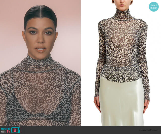 Callipygian Printed Mesh Turtleneck Blouse by Opening Ceremony worn by Kourtney Kardashian  on Keeping Up with the Kardashians