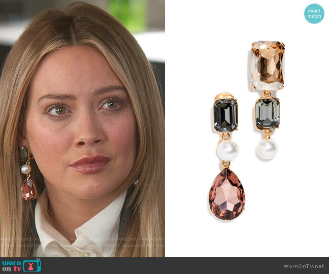 Bold Crystal Earrings by Oscar de la Renta worn by Kelsey Peters (Hilary Duff) on Younger