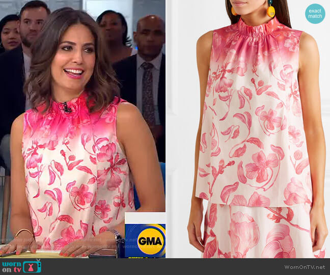 Floral-Print Cotton-Poplin Top by Peter Pilotto worn by Cecilia Vega  on Good Morning America