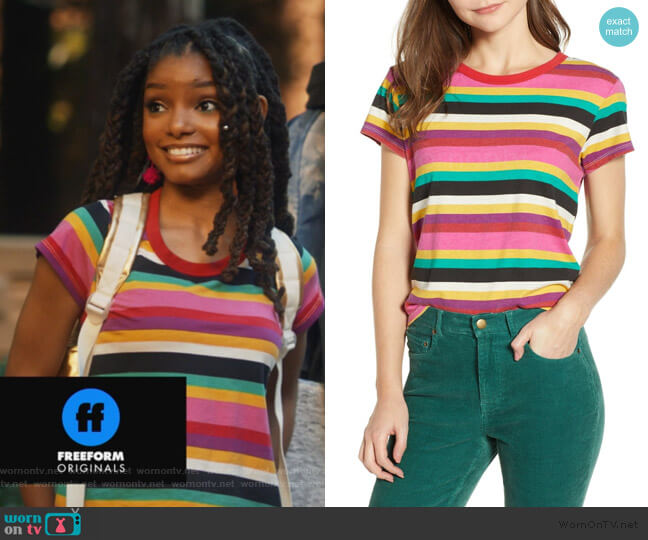Rainbow Stripe Tee by Pam and Gela worn by Skylar Forster (Halle Bailey) on Grown-ish