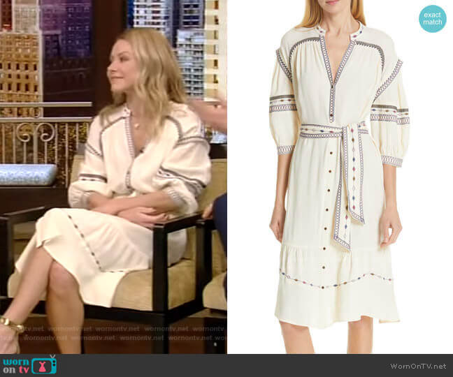 Patty Embroidered Dress by Ba&Sh worn by Kelly Ripa  on Live with Kelly & Ryan