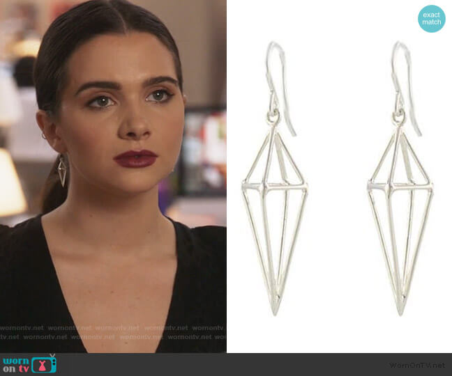 Triangle Cage Earrings by Peggy Li worn by Jane Sloan (Katie Stevens) on The Bold Type
