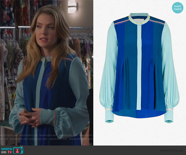 Contrast-panel silk shirt by Peter Pilotto worn by Sutton (Meghann Fahy) on The Bold Type