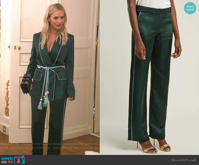 Side-Stripe Satin Trousers by Peter Pilotto worn by Dorit Kemsley  on The Real Housewives of Beverly Hills