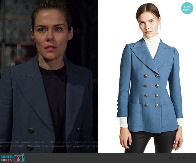 Double Breasted Blazer by Philosophy di Lorenzo Serafini worn by Trish Walker (Rachael Taylor) on Jessica Jones