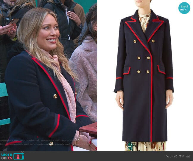 Piped Double-Breasted Coat by Gucci worn by Kelsey Peters (Hilary Duff) on Younger