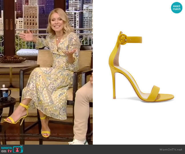 Portofino Leather Sandals by Gianvito Rossi worn by Kelly Ripa  on Live with Kelly & Ryan