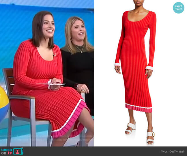 Long-Sleeve Open-Back Ribbed Knit Midi Dress by Prabal Gurung worn by Ashley Graham on Today
