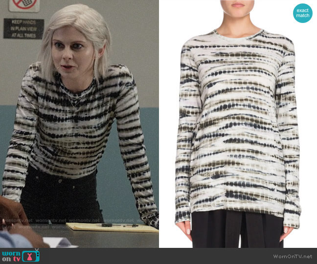Proenza Schouler  Long-Sleeve Tie-Dye Cotton T-Shirt worn by Liv Moore (Rose McIver) on iZombie